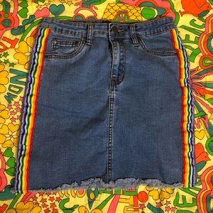 Rainbow stripe Forever 21 denim skirt size Small